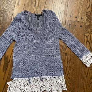 Blue and white lace sweater size small